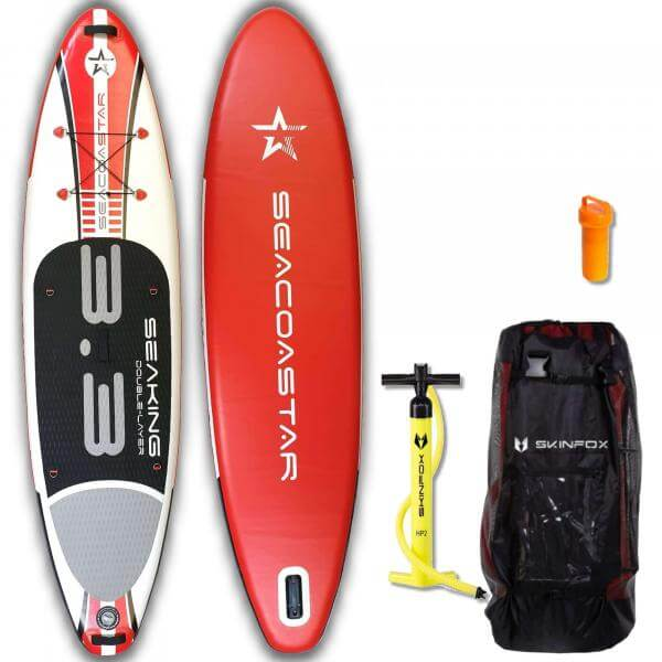 SEACOASTAR SEAKING CARBON-SET (325x80x15) Double-Layer SUP Paddelboard rot