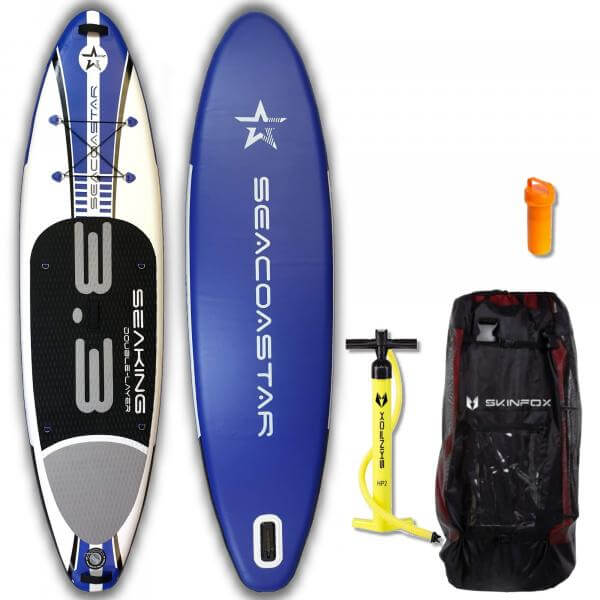 SEACOASTAR SEAKING CARBON-SET (325x80x15) Double-Layer SUP Paddelboard blau